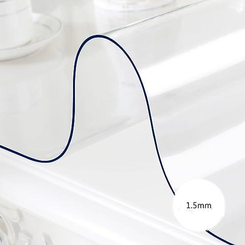 %tablecloth Rechteck PVC Tischdecke, transparente Weiße wasserdichte Esstisch Tischdecke Kunststoff Tisch Matten Kristallplatte Öl-proof Kaffee Mats ( Farbe   Transparent 1.5mm , Größe   80130cm )