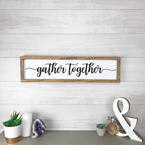 Dozili Gather Together Modern Farmhouse Decor Gift for Her Sign Farmhouse Wall Decor Framed product image