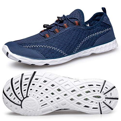 Women's Quick-Drying Aqua Water Shoes Beach Sports Shoes Lightweight Water Shoes for Men Size 13 for Beach Water Sports Outdoor Pool Surf Swim Exercise Navy/White 47 EU