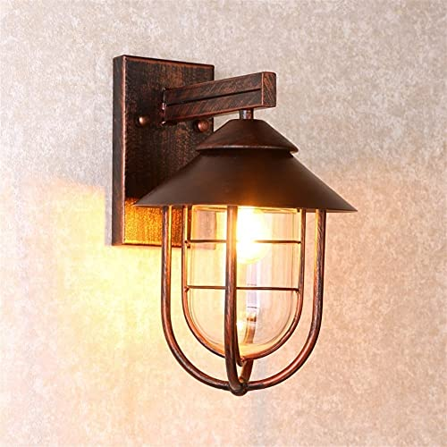 Kioiien Antiguo Exterior de Pared luz al Aire Libre Impermeable Impermeable Linterna lámpara de Pared lámpara Linterna e27 escoce iluminación Accesorio Patio balcón Villa jardín aluminu lámpara Pared