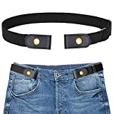 SANSTHS Buckle-Free Elastic Women Belt for Jeans Without Buckle, Comfortable Invisible Belt No Bulge No Hassle (Black)