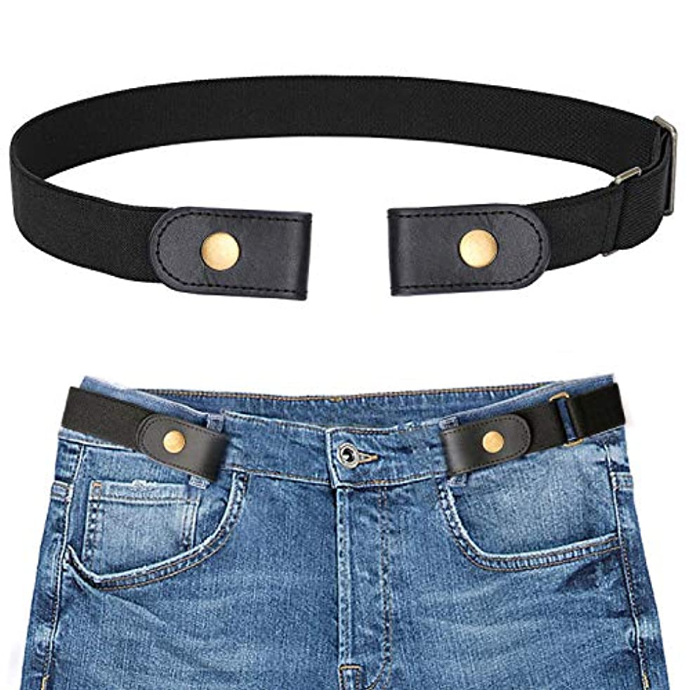 No Buckle Stretch Belt for Men, SANSTHS Buckle Free Elastic Belt for Jeans Pants, No Hassle Invisible Belt
