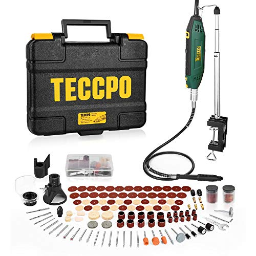 TECCPO Outil Rotatif Electrique 200W, avec 120 Accessoires, Vitesse Variable 40000 rpm, Support extensible, Mandrin à 3 griffes, Couvercle de protection, Découper/Polir/Ponçage