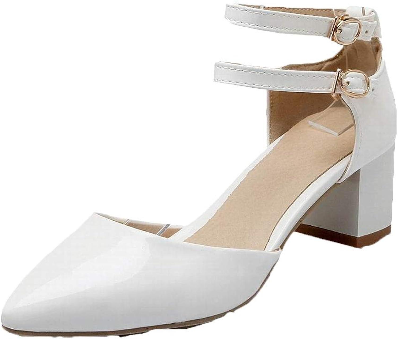 AmoonyFashion Women's Closed-Toe Kitten-Heels Patent Leather Solid Sandals, BUTLT007821