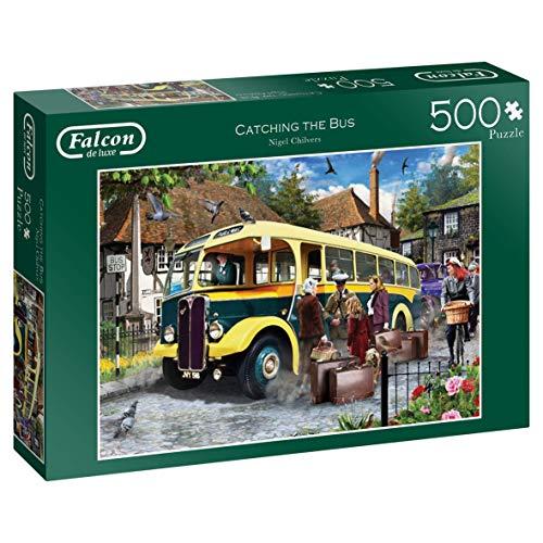 Falcon Deluxe Puzzel Catching the Bus, 500 delen, puzzel (puzzel, voertuigen, volwassenen, kinderen/meisjes, 12 delen binnenshuis)