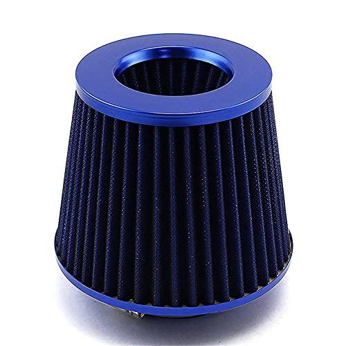 Filtro de Entrada de frío Nuevo Filtro de Aire de Rendimiento, Accesorios de admisión de Filtro de Aire con 76 mm de Flujo Grande, Adecuado para la modificación del automóvil (Color : Blue)