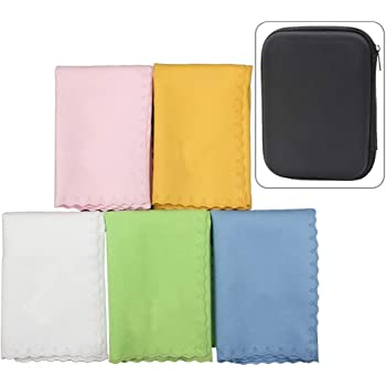 Luvay 5pcs Microfiber Polishing Cleaning Cloth with Case (EVA Box) for Musical Instrument Guitar, Piano, Violin, Sax, Clarinet, Flute Universal