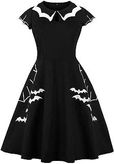 Women Halloween Retro Dress Printed Bat Evening Party Dress Skirts