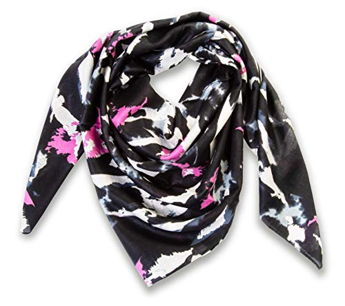Large Head Wrap Scarf -Soft Lightweight Easy Tie Square Chemo Scarves -by Atara (Black Print)
