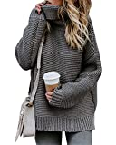 Mujer Otoño E Invierno Jersey Long Pullover Suéter Punto Texturizado con Cuello Alto Elegante...