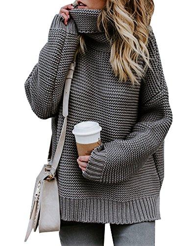 ShallGood - Jersey de punto grueso para mujer, para otoño e invierno, de manga larga, de color liso, holgado, cálido, con cuello vuelto y diseño elegante (Ropa)