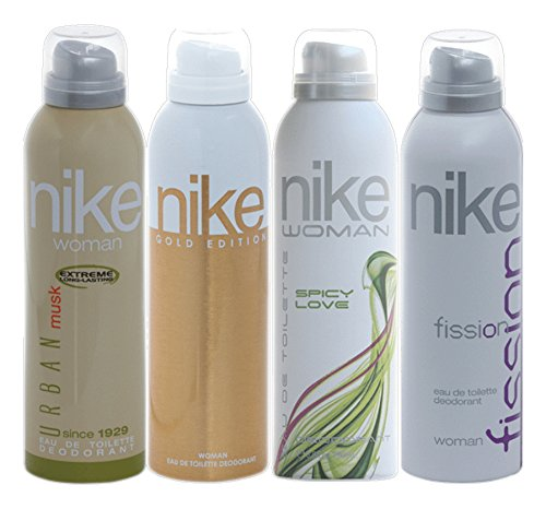 Nike Women Deo Set, 4x200ml (Fission, Spicy Love, Urban Musk and Gold Edition)