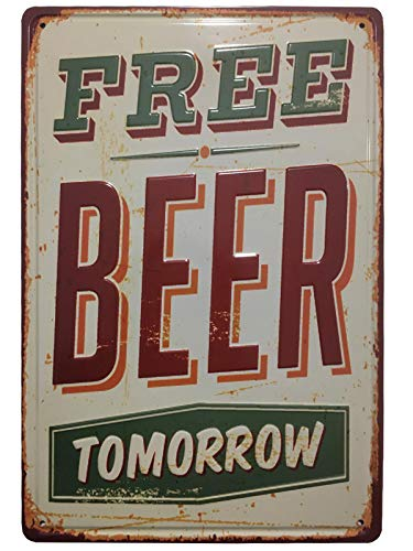 Chapa Vintage Cerveza [con Relieve y Gran Rigidez]. Placa Decorativa de Pared metálica Retro de 20x30 cm. (Free Beer)