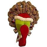Katigan Corona de Arpillera de Navidad Decoraciones de Puerta de Entrada Guirnalda de Navidad Robada Decoraciones del Hogar para Pared, Ventana, Escalera-14 Pulgadas