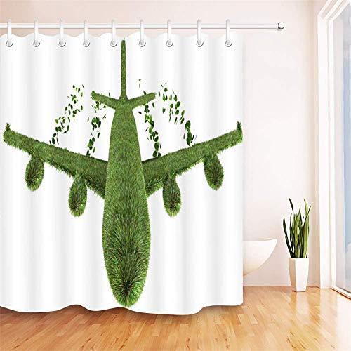 Douchegordijn groene plant polyesterweefsel waterdicht en schimmel 3D HD-druk Home Decoration 180x 200cm 12 haken