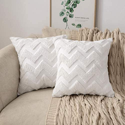 MIULEE Set of 2 Decorative Plush Short Faux Wool Throw Pillow Covers Velvet Embroidered Pillowcase product image