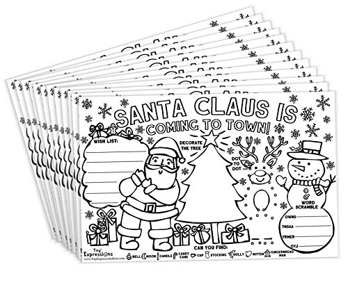 Tiny Expressions – Christmas Santa Placemats for Kids (Pack of 12 Holiday Placemats) | Coloring Activity Paper Mats for Kids Table | Disposable Bulk Bundle Set