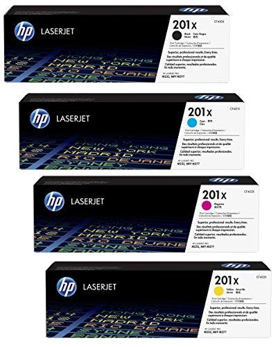 4x Original XL HP Toner CF400X CF403X 201X für HP Color Laserjet Pro MFP 277 DW - Black, Cyan, Magenta, Yellow - Leistung: BK ca. 2800 Seiten / Farben ca. 2300 Seiten/5%