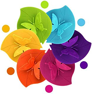 6 Pcs Creative Butterfly Mug Cover Silicone Cup Lid Cup Cover Tea Cup Lid Reusable Coffee Mug Seal Lid Cap 4 Styles Anti-d...