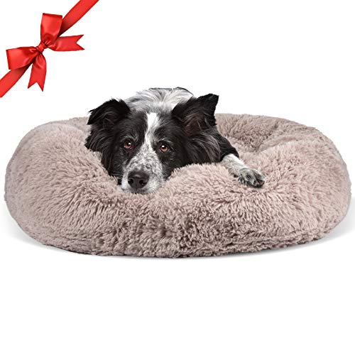 JOEJOY Dog Beds,Orthopedic Round Bed for Small Medium Large Dogs,Soft Fluffy Faux Fur Donut Cuddler Cat Cushion Beds ,Short Plush Anti Anxiety Puppy Beds Machine Washable (20/23 inch)