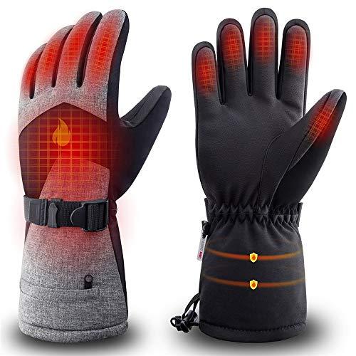 Unisex verwarmde handschoenen handwarmer mannen vrouwen winter-oplaadbare handschoenen leer warme handschoenen koolstofvezel fiets motorfiets sneeuw handschoenen waterdicht winterwarme ski-handschoenen