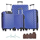 Apelila 4 Piece Hardshell Luggage Sets ,Travel Suitcase,Carry On Luggage with Spinner Wheels Free Cover&Hanger Inside(Dark Blue)