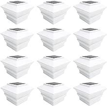 iGlow 12 Pack White Outdoor Garden 4 x 4 Solar LED Post Deck Cap Square Fence Light Landscape Lamp PVC Vinyl Plastic