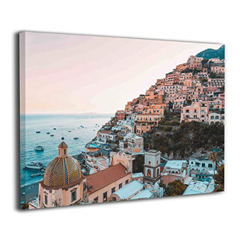 "Amonee 16""x20"" Canvas Wall Art Print Positano Amalfi Coast Campania Sorrento Framed Canvas Pictures Prints Contemporary Artwork Ready to Hang for Home Decoration Wall Decor"