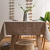 JZY Heavy Duty Cotton Linen Table Cloth for Rectangular Tables Solid Embroidery Lattice Tablecloth for Kitchen Dinning Tabletop Decoration (52'x86', Linen)