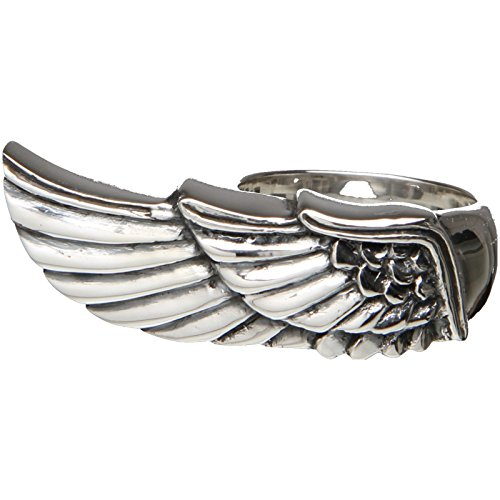 Design Stoodio handmade 925 Sterling Silber Biker Ring massiv Engel Flügel Angel wing, Ringgröße (Durchmesser):57 (18.1 mm Ø)