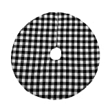 Joiedomi 48' Buffalo Plaid Christmas Tree Skirt - Black and White Checked Tree Skirts Mat for Christmas Holiday Party Decorations