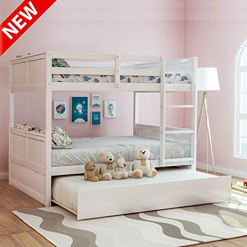 LEEKOU Updated Full Over Full Bunk Bed with Trundle, Best Thicken Solid Wood Bed Frame with Safety Guard Rail and Ladder, Multifunction Convertible to 2 Beds for Kids (White)