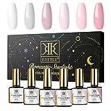 RSTYLE Esmaltes Permanentes para Uñasen Gel UV LED, 6 Colores 10ml Kit de Esmaltes de Uñas Gel Soak Off para Manicura (Blanco rosa)