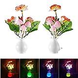 Lámpara de seta hongo luz de noche US Plug Sensor de luz 220V LED colorido lámpara de hongos luces de noche, luces de noche de bebé