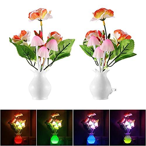 Lampada a Fungo Luce Notturna a Fungo Sensore di Luce a Spina Americana 220V Lampada a Fungo Colorata a LED Luci Notturne a LED,Luci Notturne Per Bambini