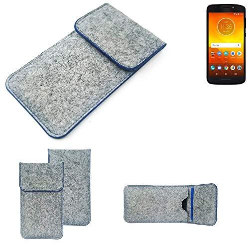 K-S-Trade Handy Schutz Hülle Für Motorola Moto E5 Dual SIM Schutzhülle Handyhülle Filztasche Pouch Tasche Hülle Sleeve Filzhülle Hellgrau, Blauer Rand