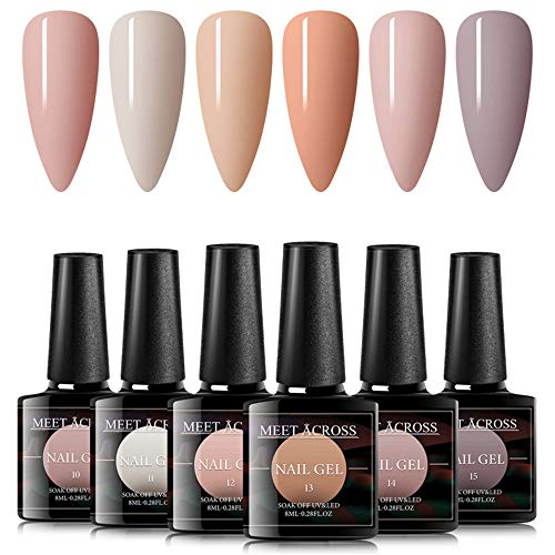 MEET ACROSS Gel Nail Polish Set 6 Colors Nude Pink Gel Polish Kit Soak Off UV Led Lamp Base Top Coat Needed With Gifts Box For Nail Art Salon Design Manicure Starter Set