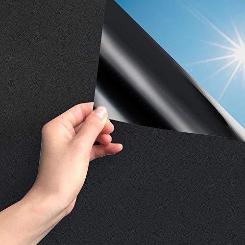 MARAPON® Fensterfolie selbsthaftend Blickdicht in schwarz [105x200 cm] inkl. eBook mit Profitipps - Verdunkelungsfolie mit hohem Sichtschutz - Sichtschutzfolie statisch haftend ohne Lichtdurchlass