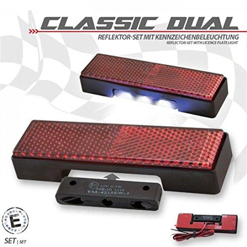 Rückstrahler Classic Dual Set inkl. Beleuchtung für Motorrad Kennzeichenhalter E-geprüft