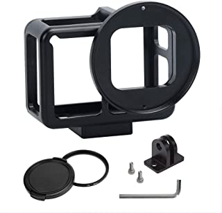 Aluminum Alloy Housing Hollow Frame Case For Gopro Hero 7 Black/Hero 6/Hero5/Hero(2018) Action Camera,Good GPS/Wi-Fi Signal Receiving, Metal Protective Frame with Back Door with 52mm UV Filter