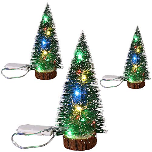 Feelmate 3Pcs Bottle Brush Trees Mini LED Christmas Trees Artificial Xmas Sisal Snow Frost Trees Diorama Tree with Wood Base for Home Craft Decoration