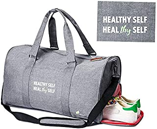 All Soul Great Gym Bag Duffel Gym Bag Charcoal Grey Weekender Duffel Bag with Shoe Compartment | For Men/Women/Boys/Girls/Workout/Crossfit/Sport/Gym/Travel/Fitness/Yoga/Athletes/Office