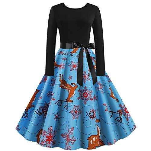 Canifon Damen Jahrgang Weihnachten Print Patchwork Kleider Frauen Rundhals Mehrfarbig Bow Hepburn Partykleid