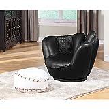 All Star Chair & Ottoman (2Pc Pk) in Baseball Black Glove Chair with White Ottoman 05522