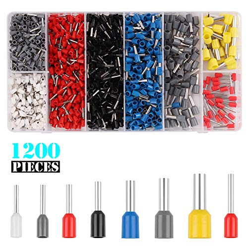 Kinstecks 1200PCS Wire Ferrules Kit 22-10AWG 8 Maten Wire Ferrule Terminals Connector Kit Geïsoleerde Koord Pin End Terminal voor DIY Elektrische Motorfiets Voertuig Boot