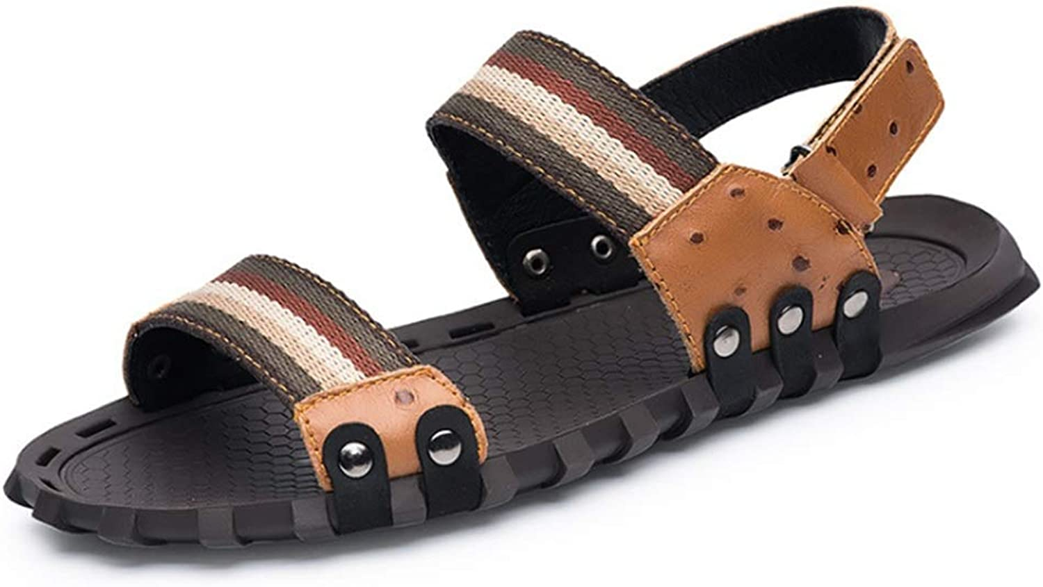 Men's Outdoor Casual Slip Light Brown Beach shoes Breathable Sandals (24.0-28.5) cm Anti-Skid Breathable