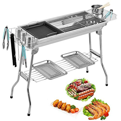 Faltbarer Grill, tragbar, Camping-Grill, Holzkohle, Picknick-Herd-Kopf, kompakter schwarzer Grill, für...