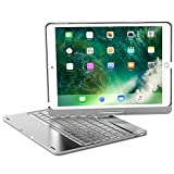 iPad 9.7 2018 Arabic Keyboard Case, 7 Colors Adjustment LED Backlit and Breathing Light Aluminum Wireless Bluetooth Keyboard with 360 Degree Rotatable Cover for iPad 9.7 2018 A1893 A1954 (Silver)