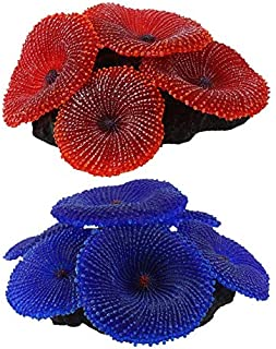 Decorations - 2 Pcs Artificial Aquarium Fish Tank Decoration Coral Sea Plant Ornament Silicone Nontoxic, Blue & Red