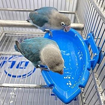 Baignoire à Oiseaux Accessoires de Cage à Oiseaux Bassin Cage de Perroquet Boîte de Bain Suspendue Baignoires à Oiseaux Bol de Baignoire, Baignoire Multifonction/Bol d'alimentation 18×10×4cm